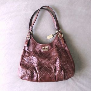 Coach Authentic Madison Whiskey Criss Cross Bag